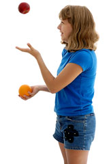 juggling two alternatives - an apple and an orange